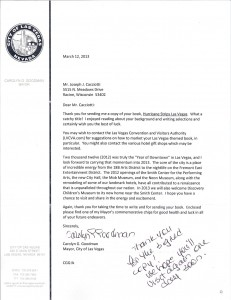 Letter form Mayor of city Las Vegas