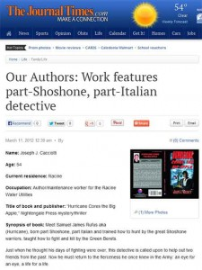 Author Joseph Cacciotti's article in the Racine Journal Times